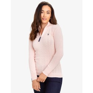 US Polo AssociationCABLE KNIT SWEATER WITH QUARTER ZIP