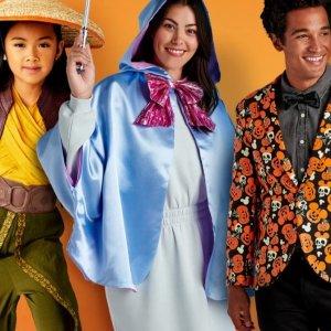最高减$20迪士尼官网 万圣节成人、儿童服饰装扮促销