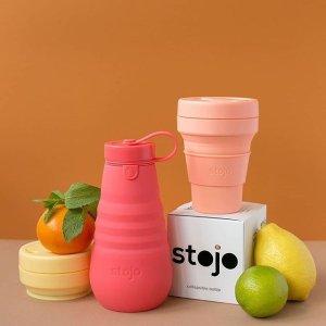 低至7.5折 $14.99收折叠水壶Stojo 网红便携杯热卖 香芋糖果色折叠杯环保又可爱