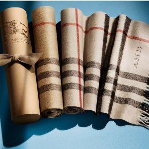 独家8.5折  冬季三宝必收Burberry 英伦风格子羊绒围巾、丝巾等热卖