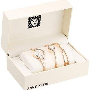 Anne Klein Women's Bangle Watch and Swarovski Crystal Accented Bracelet Set