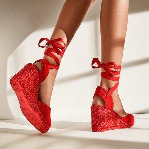 Stuart Weitzman5.5折帆布坡跟麻底鞋