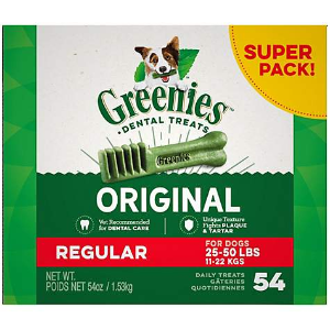 $74.97 平均$24.99/盒Greenies 超大盒狗狗洁牙棒54oz 3盒 近史低价
