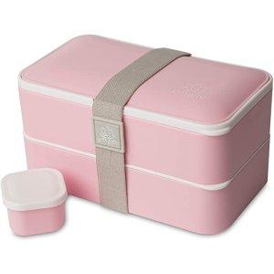 UMAMIISM含1个调味罐+餐具3件套高级双层便当饭盒-粉色