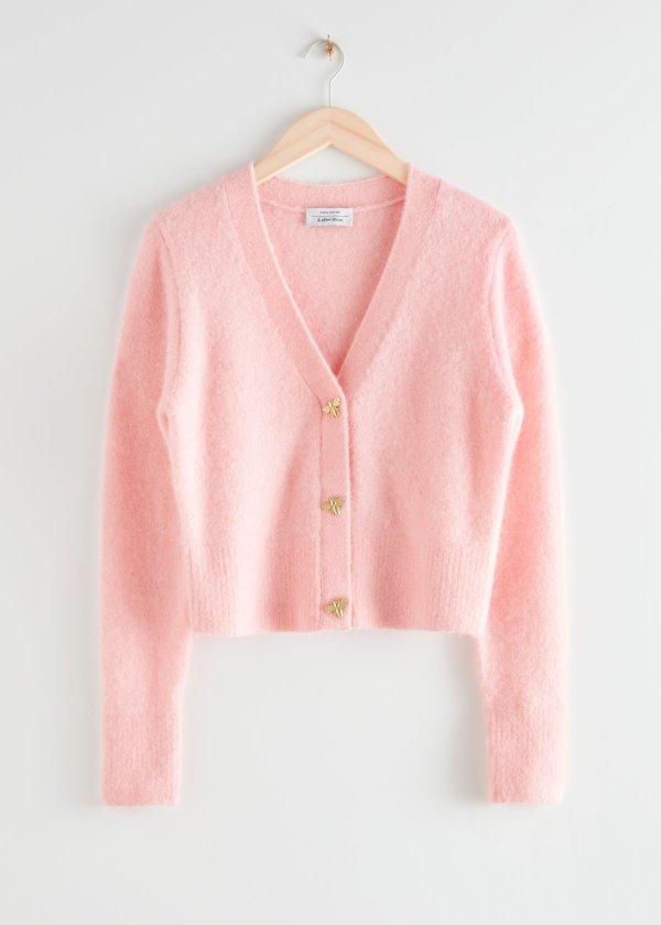 小蜜蜂粉色针织开衫