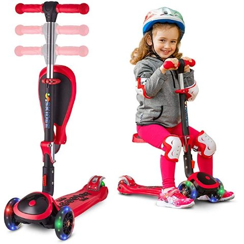 WeSkate Mini Scooter for Kids Design for Children Ages 2-8 Lights Up Scooters for Toddlers Girls /& Boys Removable Seat /& Adjustable Height