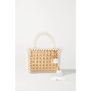 RosanticaSpiaggia faux pearl-embellished wicker tote