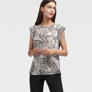 DKNYCap Sleeve Butterfly Print Top