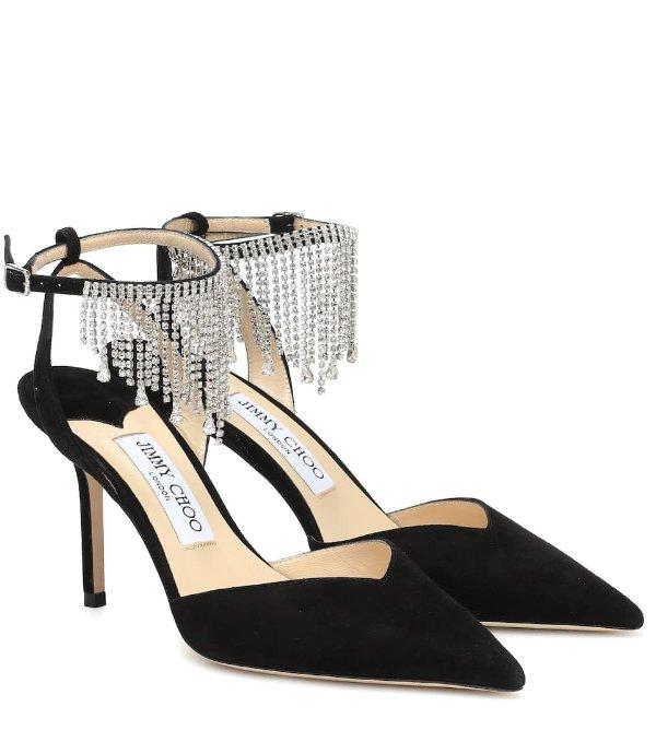 Birtie 85 embellished流苏高跟鞋