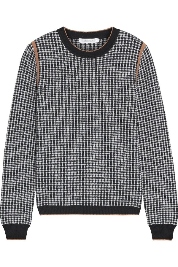 Colle houndstooth 羊绒毛衣