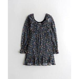 HollisterBalloon-Sleeve Ruffle Mini Dress