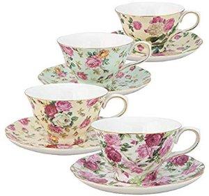 $26.99 (原价$37.50)Gracie China 玫瑰骨瓷茶杯套装 4组装