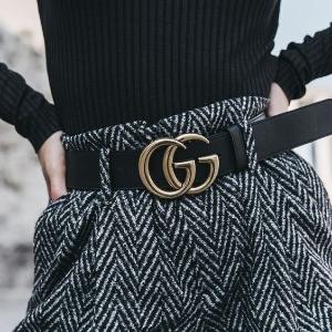 定价优势+全球免邮Gucci 大热GG黑色腰带折上折热卖