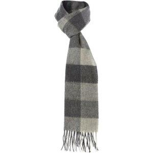 Barbour灰格纹围巾