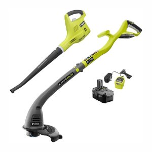 RYOBI ONE+ 18-Volt Cordless String Trimmer/Edger and Blower/Sweeper Combo Kit