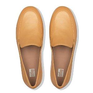 FitFlop超舒适气垫减少足部压力金属色皮鞋
