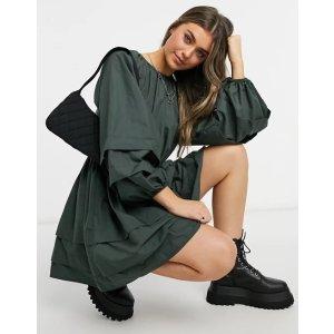 ASOS DESIGN满$40,立享额外8折cotton 墨绿连衣裙