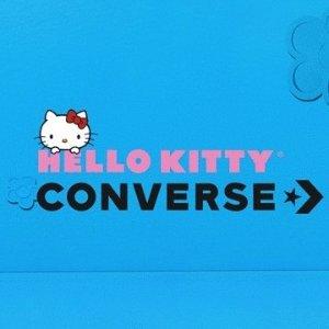 无门槛8折 帆布鞋、T恤、卫衣都有闪购:Converse官网 超可爱、超少女Hello Kitty合作款