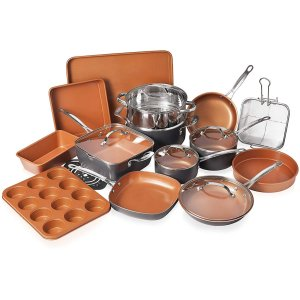 Gotham Steel 20 Piece All in One Kitchen Cookware + Bakeware Set with Nonstick Durable Ceramic Copper Coating