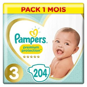 Pampers尿不湿3, 204Couches, 6-10kg Pack 1 Mois