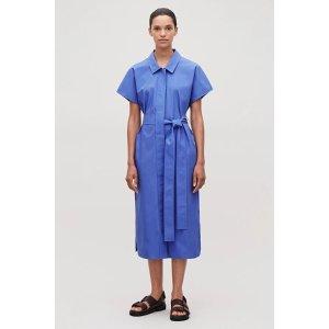 COS蓝色系带连衣裙