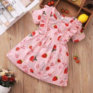patpat1pc Toddler Girl Short-sleeve Fruit Strawberry Dress