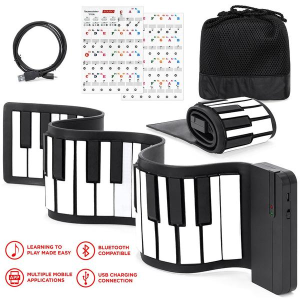 Kids 49-Key Portable Roll-Up Piano Keyboard Musical STEM Toy w/ Bluetooth