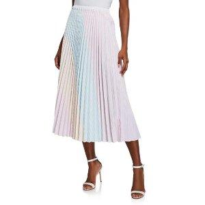 petersynColorblocked Striped Pleated Midi Skirt