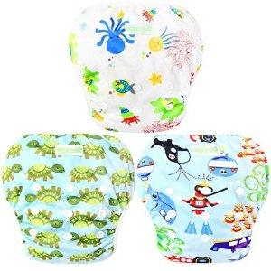 wegreeco 婴幼儿游泳尿布,3个装