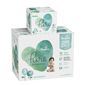 $15.00 Off Pampers Pure Protection Diapers+Aqua Pure 6X Pop-Top Sensitive Water Baby Wipes - 336 Count @ Amazon