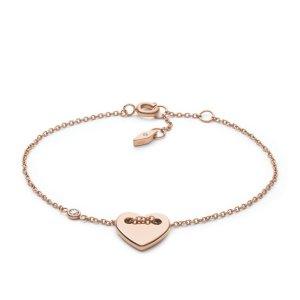 FossilHeart Rose-Gold Tone Steel Bracelet