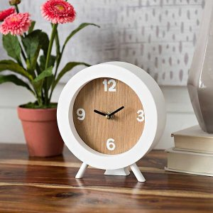 White Round Tinsley Tabletop Clock
