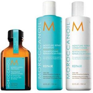 Moroccanoil洗发水护发素各250ml+护发油25ml经典明星洗发套装
