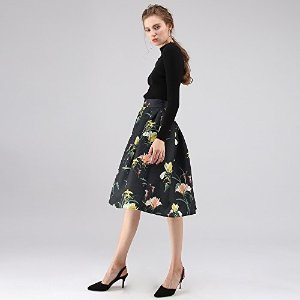 e45854194b ChicwishWomen's Wild Lily Floral Printed Black Pleated A-Line Midi Skirt.  $39.68. Chicwish Women's ...