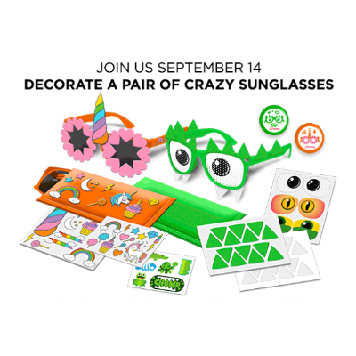 Free! Decorate a Pair of Crazy SunglassesJCPenney Kids Zone Activity on September 14th, 2019