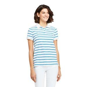 Lands' EndWomen's Mesh Cotton Short Sleeve Polo Shirt Print