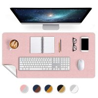 Dealmoon Office Desk Mat Mouse Pad 17 X 34 Inch PU Leather Desk Pad Blotters Table Protector on Top of Desks Laptop Computer Gaming Keyboard Desktop Organizer Waterproof Dual-Sided Desk Writing Mat Pink/Silver