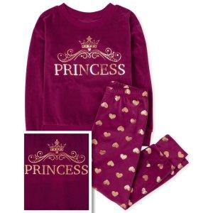 The Children's PlaceXS(4)'Princess' 天鹅绒家居服套装