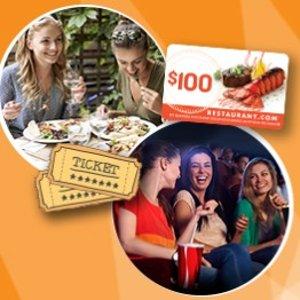$30白菜价:2张电影票+价值$100 餐厅礼卡,约会全套包裹购齐啦