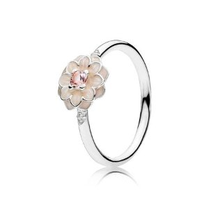 Blooming Dahlia Ring, Cream Enamel, Clear CZ & Blush Pink Crystals