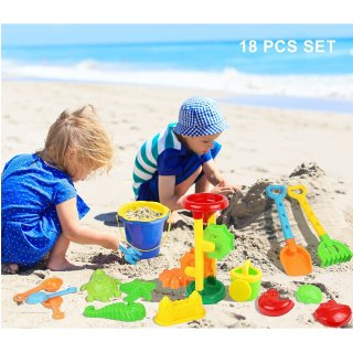 $13.5Click N Play 18 Piece Beach sand Toy Set, Bucket, Shovels, Rakes, Sand Wheel, Watering Can, Molds