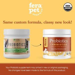 新包装$34.95(原价$48.05)FERA 宠物益生菌 美国农业部有机认证 兽医推荐
