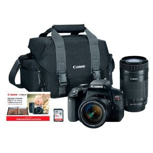 Cyber Monday Sale: Canon - EOS Rebel T7i DSLR Two Lens Kit with 18-55mm and 55-250mm Lenses - BlackIncluded Free