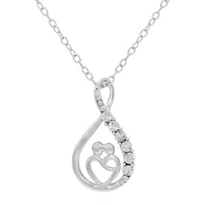 纯银白钻项链