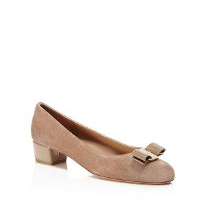 Vara 麂皮中跟蝴蝶结鞋