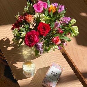 $55收鲜花花瓶+巧克力套装FTD母亲节好礼鲜花、巧克力、甜甜圈花束热卖