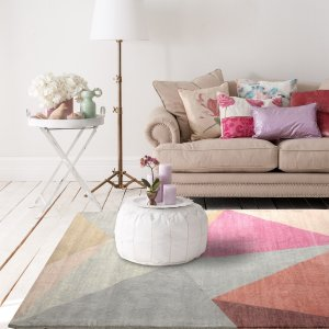 HouzzPink Pyramid Mid-Century Geometric Area Rug - Contemporary - Area Rugs - by RugSmith