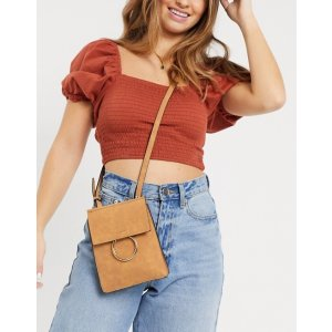 French ConnectionFaux Leatherand Suede Cross Body Chain Trim Bag
