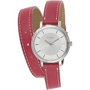 €75.25就收!实用与颜值兼备Casio 卡西欧 粉色双环女表 银色表盘干净清爽 可作夏日腕饰