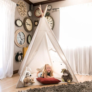Last Day: 6ft Kids Pretend Cotton Teepee Play Tent w/ Mesh Window, Carrying Case